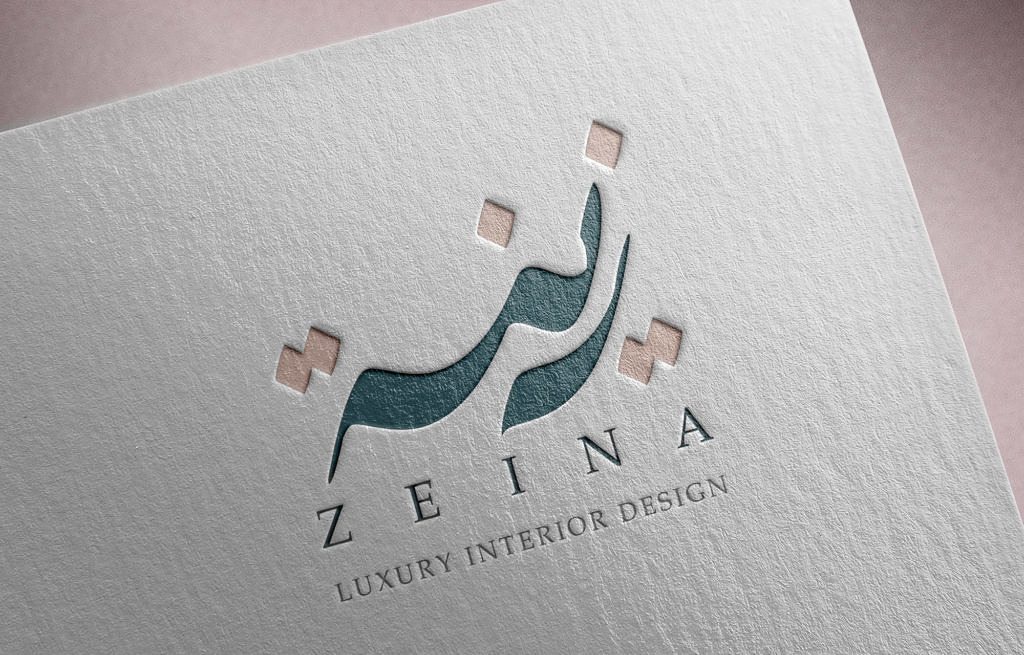 Zeina logo debossed on paper